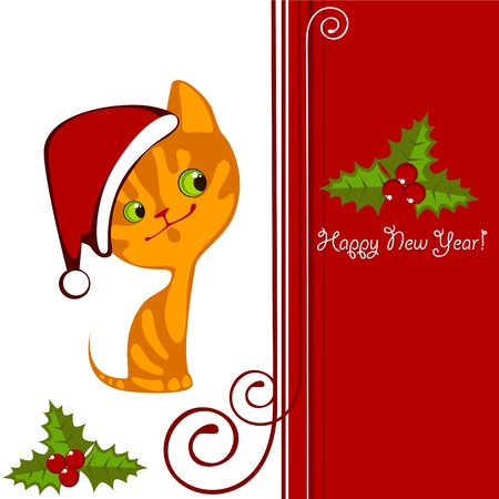 Christmas little orange kitten in a Hat 2 Stock Vector - 10800506