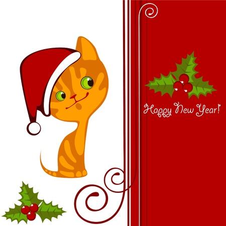 Christmas little orange kitten in a Hat 2 Stock Vector - 10800506