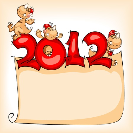 New Year's banner in 2012 with the cheerful dragon Stock Vector - 10834557
