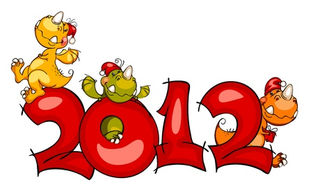 New Year's border in 2012 with the cheerful dragon Stock Vector - 10834558