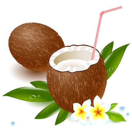coconut palm: coconut milk and a straw, amid tropical flowers