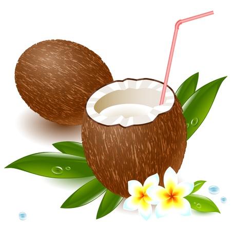 natura morta con fiori: latte di cocco e una cannuccia, in mezzo a fiori tropicali