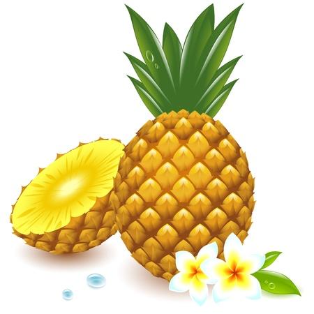 ananas entier et coupé en deux, avec des fleurs tropicales