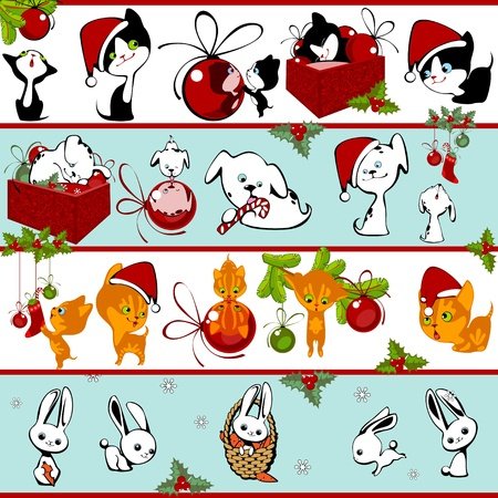 Christmas collection of animals to play with toys Vector