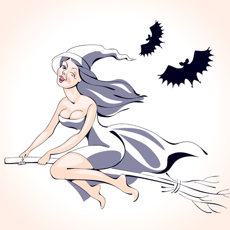 pretty sexy young brunette witch in silver flying on a broom. halloween illustration Vector