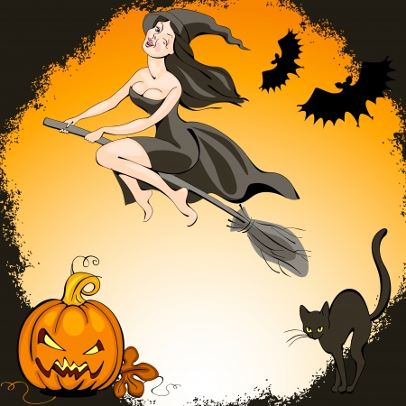 halloween set: pretty  witch on a broom and  bat flies over the pumpkin and cat Vector