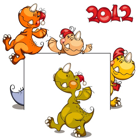 New set of dragons in 2012 on the Chinese calendar Vector