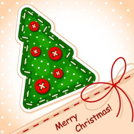 cartolina di Natale. Buon Natale albero di Natale con una firma fatta nella texture di ricamo, un arco sotto forma di stringhe e palle sotto forma di pulsanti Archivio Fotografico - 10977960