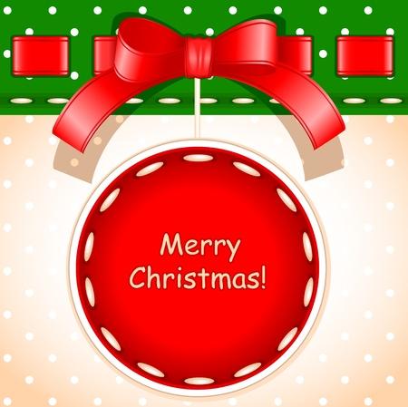 クリスマス カード。刺繍の質感で作られた署名でクリスマス ボール メリー クリスマス