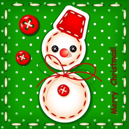 christmas card. Christmas snowman Merry Christmas with a signature made in the texture of embroidery Vector
