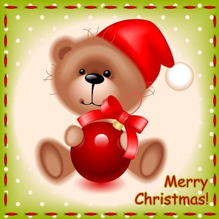 柔らかいテディベア グッズ縫製テクスチャの背景の上のクリスマス ボールとクマします。