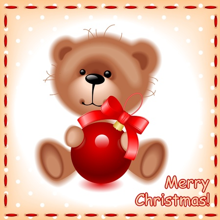 soft teddy toy bear with a Christmas ball on the background of the sewing texture Stock Vector - 10977963