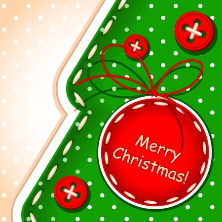 クリスマス カード。クリスマス ボールとテクスチャの縫製で行われた署名を持つメリー クリスマス ツリー  イラスト・ベクター素材