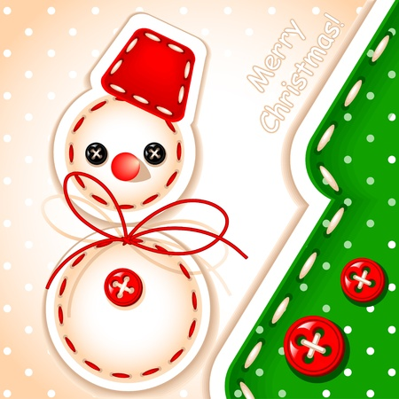 christmas card. Christmas snowman and tree Merry Christmas with a signature made in the sewing of  texture Vector