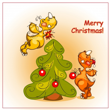 Christmas card. two cheerful dragon decorate a Christmas tree with red balls, and signed a merry Christmas Vector