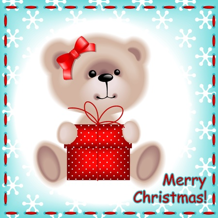 teddy bear christmas: Christmas card. teddy  bear girl with a Christmas gift on the blue background with snowflakes