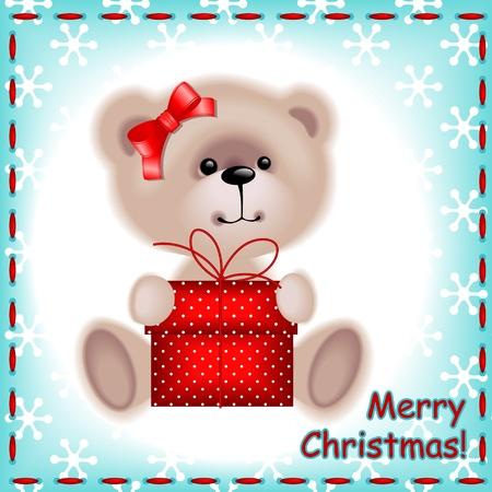 Tarjeta de Navidad. oso de peluche niña con un regalo de Navidad en el fondo azul con copos de nieve