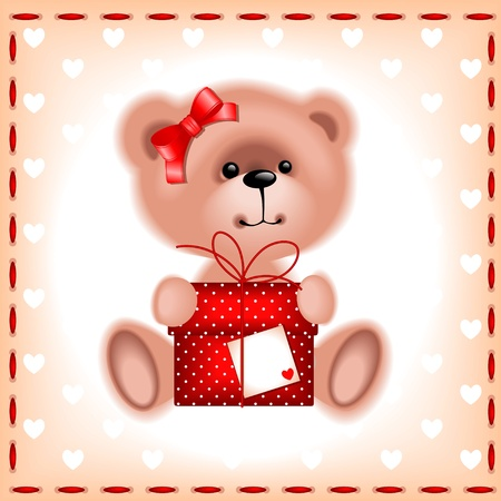 sew tags: holiday cards. teddy  bear girl with a gift on the beige background with hearts
