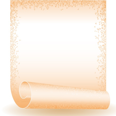 roll old paper, twisted at the papyrus with an ornament on edges. place for text Vector