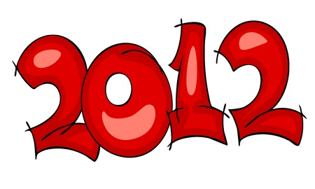 New Years border 2012, red on white background. watercolor graffiti Vector