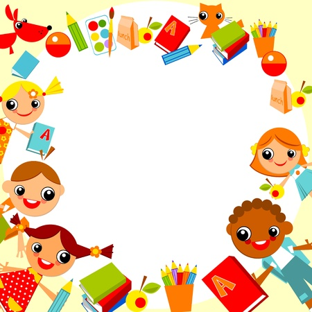 set of bright colorful children holding hands in a circle in the shape of the heart.