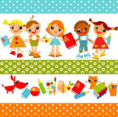 set of bright colored children, boys and girls holding hands.  Illustration