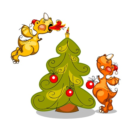 happy new year 2012. illustration of two dragons and Christmas trees Vector