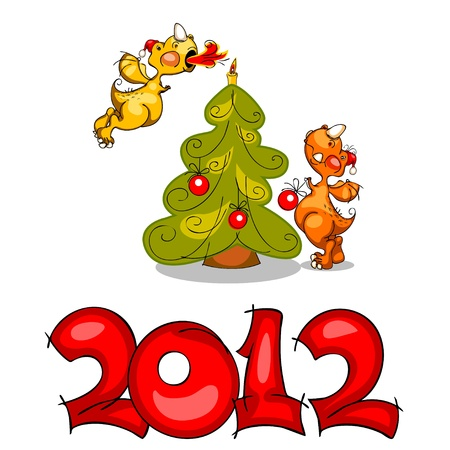 card of colored stylized dragons with Christmas tree, gifts and Santa Claus hat, light a candle, with the number 2012 Vector
