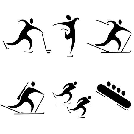 mujer deportista: conjunto de iconos de los deportes. deportes de invierno, las disciplinas olímpicas.