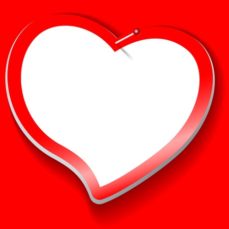rectangle button: sticker in the shape of a white heart with a red  background Illustration