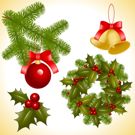 collection of isolated objects of Christmas ornaments. coniferous decoration. balls, bell and trefoil with berries. Vector