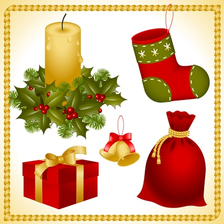 bough: collection  isolated objects of Christmas ornaments. bell, sack, stocking, gift box and candle in a candlestick decorated in holly with berries and pine branches