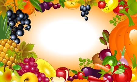 感謝祭への招待状。野菜、果物の背景。  イラスト・ベクター素材