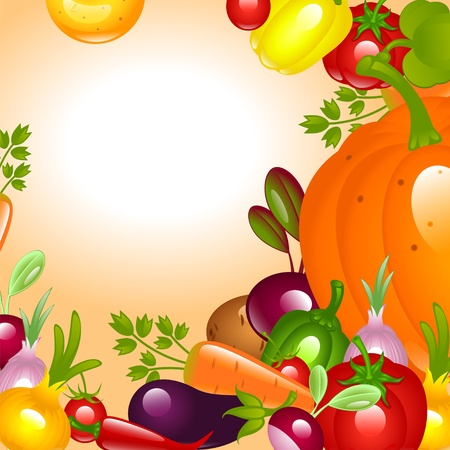 banner to Thanksgiving. Vegetables background. Vector