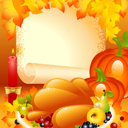 Thanksgiving card. background with turkey, the composition of fruits and vegetables in the background of the old roll of paper and a candle with a bow on top autumn leaves. Illustration