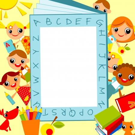 Reihe von bunten Kinder, Jungen und Mädchen vor dem Hintergrund des Alphabets als Rahmen für den Text. Vector Animation auf Bildung Standard-Bild - 11169329