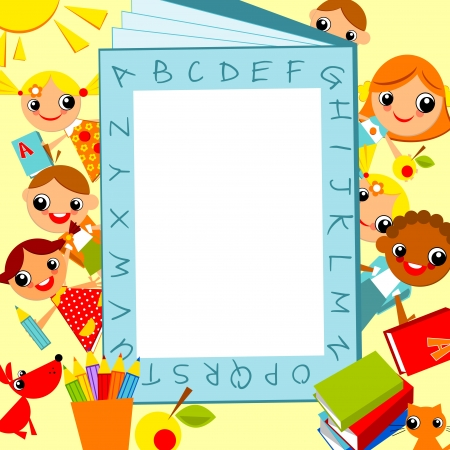 set of bright colored children, boys and girls   against the background of the alphabet as a frame for text. Vector animation on education Vector