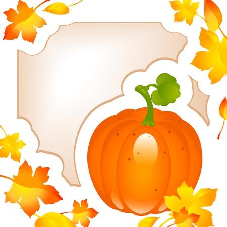 agradecimiento: Acción de gracias de la tarjeta. otoño, las hojas de arce con calabaza y marco para el texto Vectores