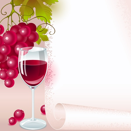 grapevine: brush of red grapes with leaves and glass of red wine on the background of your space for text. menu Illustration