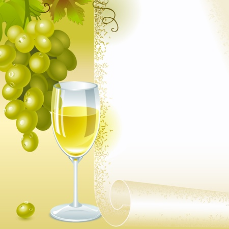 wine vineyards: brush of green grapes with leaves and glass of white wine on the background of your space for text. menu