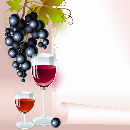 brush of black grapes with leaves, glass of red wine and glass of  brandy on the background of your space for text. menu