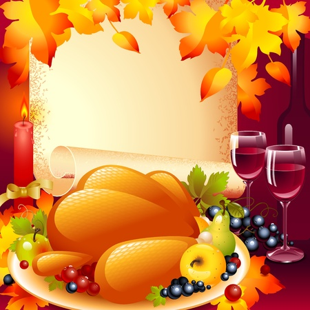 roast dinner: Thanksgiving card. background with turkey, the composition of fruits and wine glass  in the background of the old roll of paper and a candle with a bow on top autumn leaves. Illustration