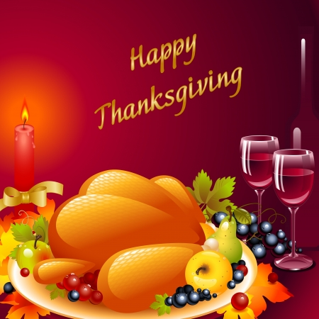 roast dinner: Thanksgiving cards. background with turkey, the composition of fruit and a glass of wine with a candle with a bow on a ruby background with the words Happy Thanksgiving