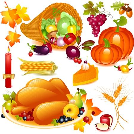 cuerno de la abundancia: Acci�n de Gracias conjunto. cuerno de la abundancia con la calabaza y otros vegetales, y los elementos tradicionales de acci�n de gracias. Objetos gr�ficos vectoriales aisladas sobre fondo blanco Vectores