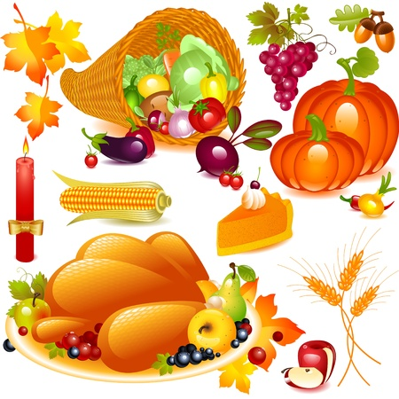 thanksgiving dinner: Thanksgiving set. cornucopia with pumpkin and other vegetables, and traditional elements of Thanksgiving. Vector graphics objects isolated on white background