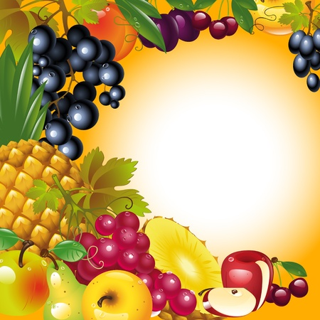 give thanks to: Thanksgiving card. banner to Thanksgiving. fruit background. Illustration