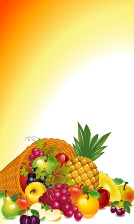 Thanksgiving card. cornucopia with lots of fruit, fall out of the horns, whole and sliced. Vector graphics fruits background. Vector