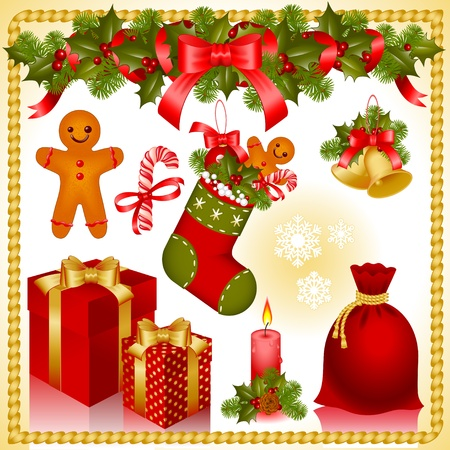 Vector illustration - set of christmas icons.collection of isolated objects of Christmas ornaments.