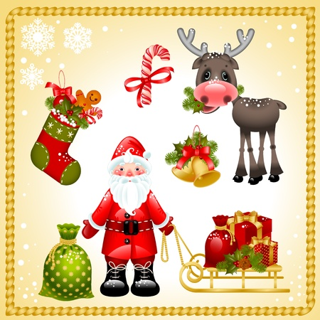 Vector illustration - set of christmas icons.Santa claus with gifts and collection of isolated objects of Christmas ornaments and symbols Vector