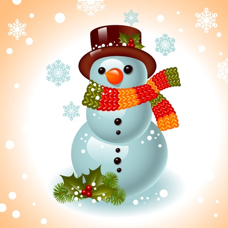 snowing: Christmas card. snowman on the background of snowflakes.Vector illustration.